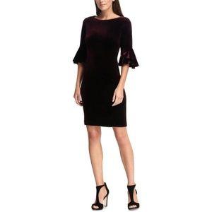DKNY Velvet Bell-Sleeve A-Line Dress Aubergine